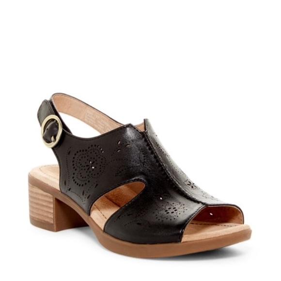 a27784b3108 Dansko Shoes - New Dansko Lisa Peep Toe Leather Sandal Black 8